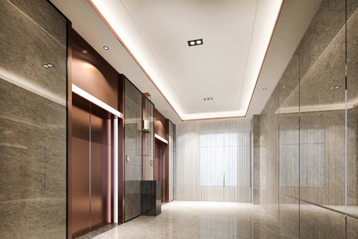 office plaster ceiling design with lighting
